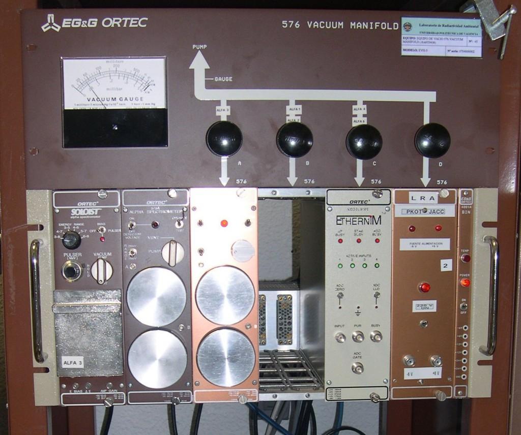 5 equipos de espectrometría alfa