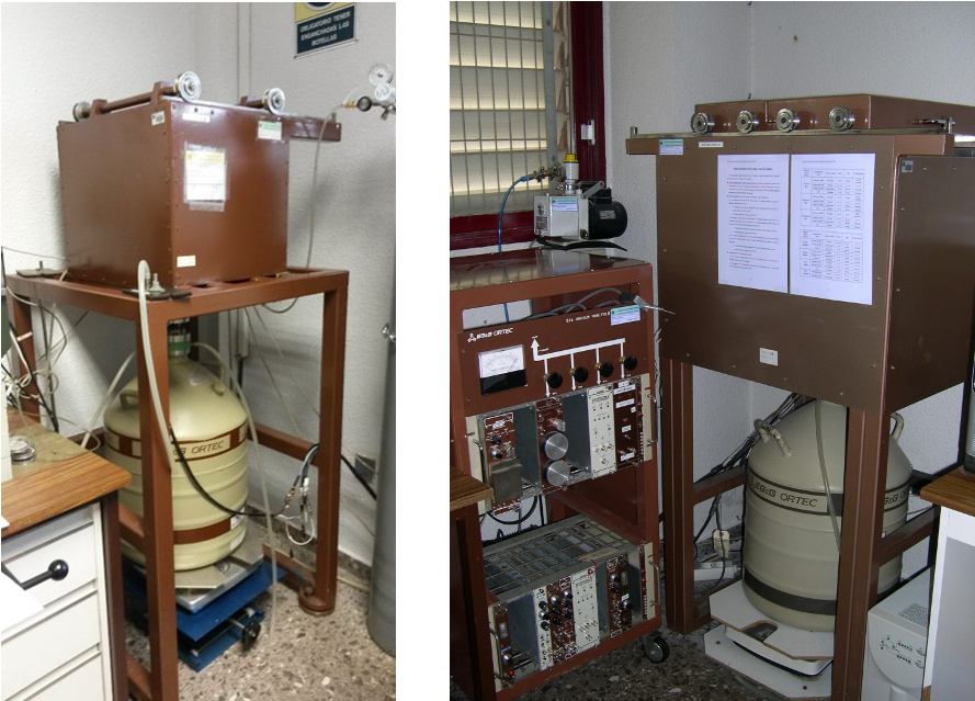 2 equipos de espectrometría gamma de Ge(HP)